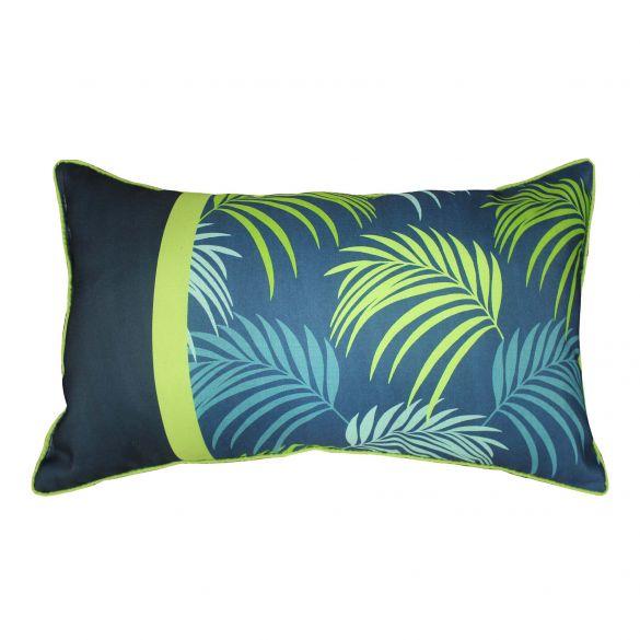 Coussin - 30 x 50 cm - Blue végétal, feuilles de palmier