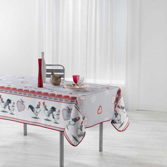 Nappe anti-tache - Rectangle - 150 x 200 cm - Gallinou, poule, coq, coeur !
