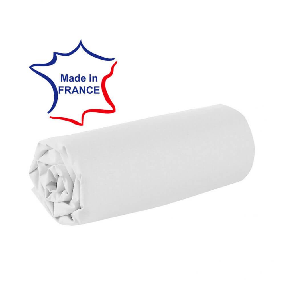 Drap housse - 100 x 190 cm - 100% coton - 57 fils - France : Couleur:Blanc