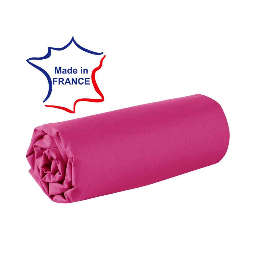Drap housse - 100 x 190 cm - 100% coton - 57 fils - France : Couleur:Fuchsia