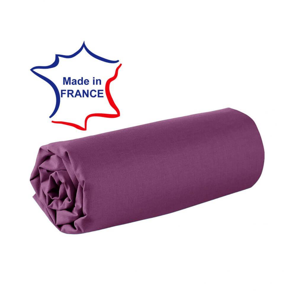 Drap housse - 100 x 190 cm - 100% coton - 57 fils - France : Couleur:Prune