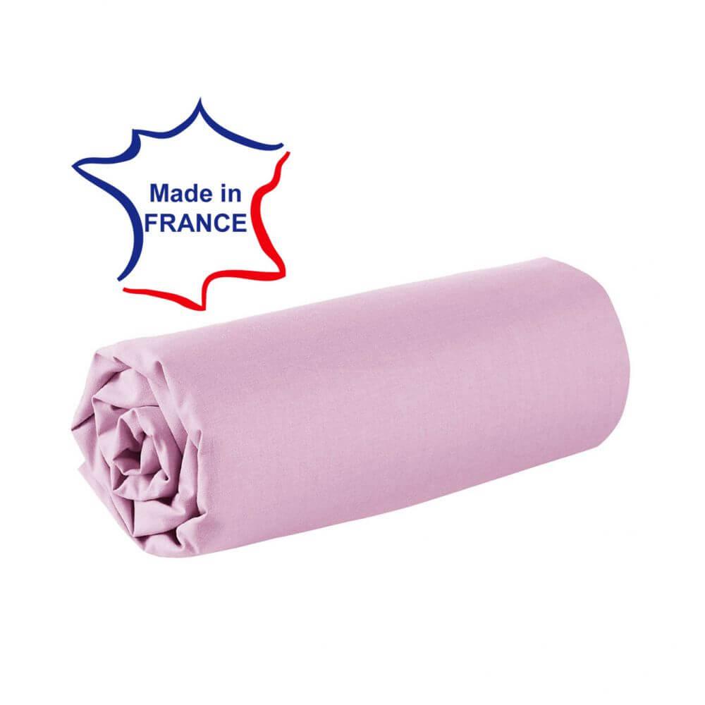Drap housse - 100 x 190 cm - 100% coton - 57 fils - France : Couleur:Rose