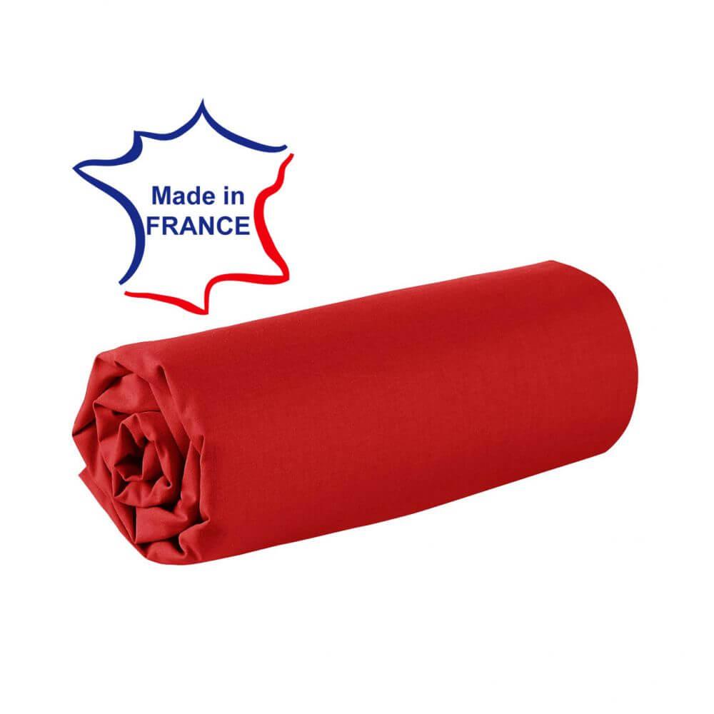 Drap housse - 100 x 190 cm - 100% coton - 57 fils - France : Couleur:Bordeaux