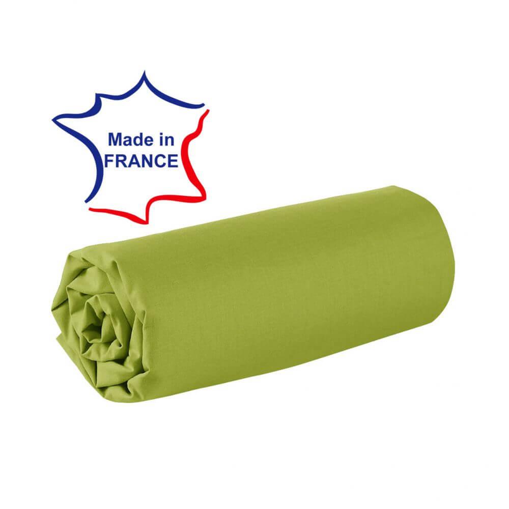 Drap housse - 100 x 190 cm - 100% coton - 57 fils - France : Couleur:Vert