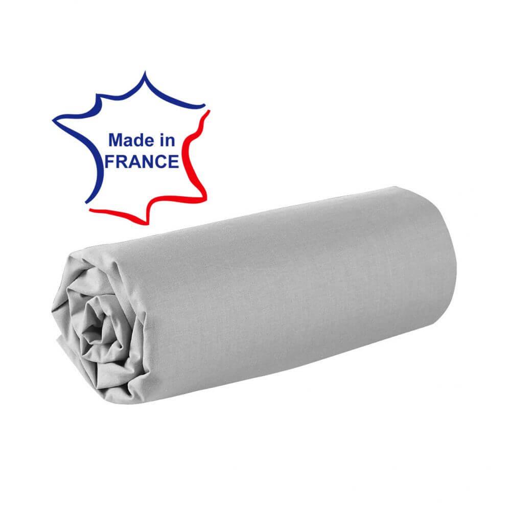 Drap housse - 100 x 190 cm - 100% coton - 57 fils - France : Couleur:Gris