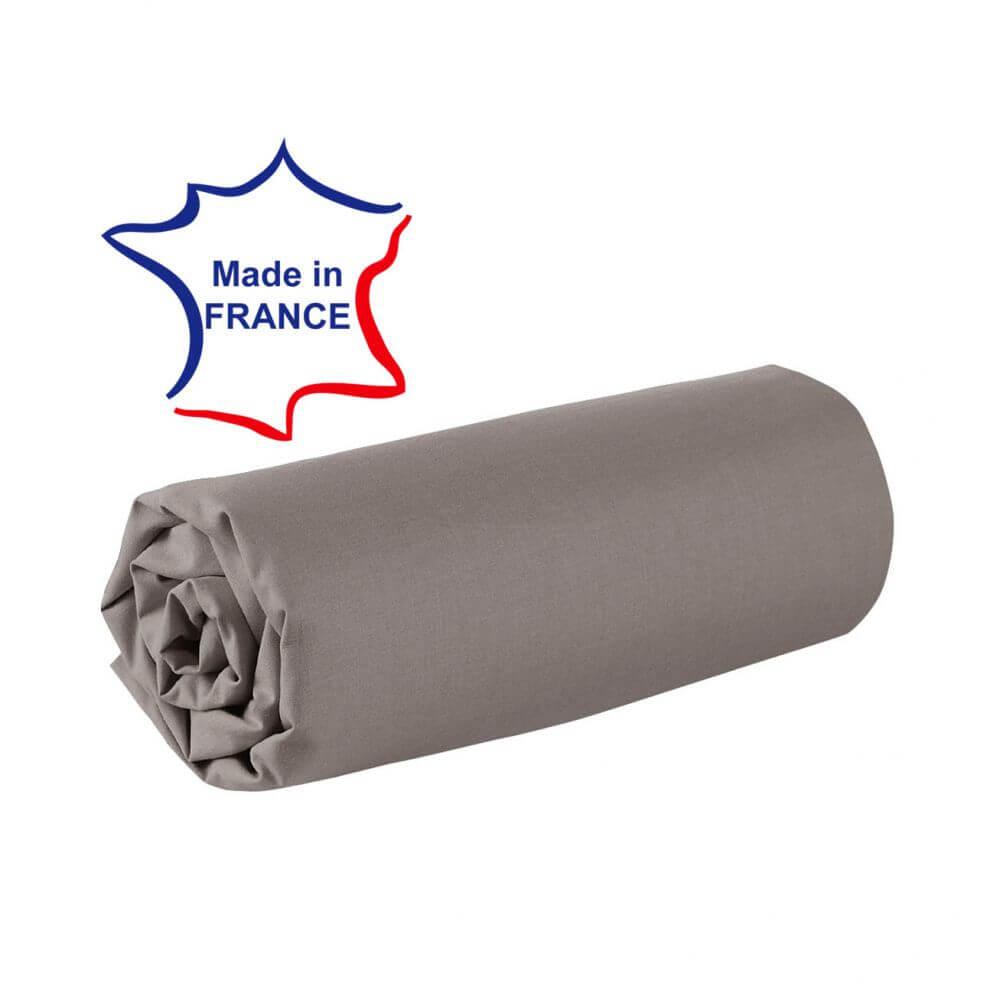 Drap housse - 100 x 190 cm - 100% coton - 57 fils - France : Couleur:Taupe