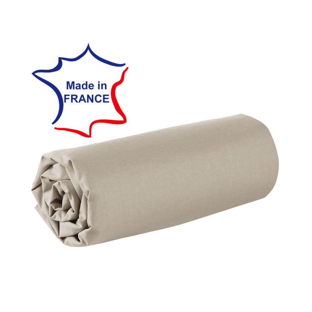 Drap housse - 100 x 190 cm - 100% coton - 57 fils - France : Couleur:Écru
