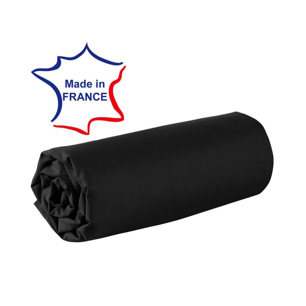 Drap housse - 100 x 190 cm - 100% coton - 57 fils - France : Couleur:Noir