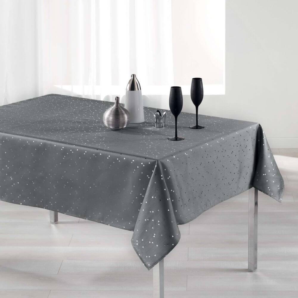 Nappe rectangle - 150 x 300 cm - Safina, reflets or / argent - Différents coloris : Couleur:Gris
