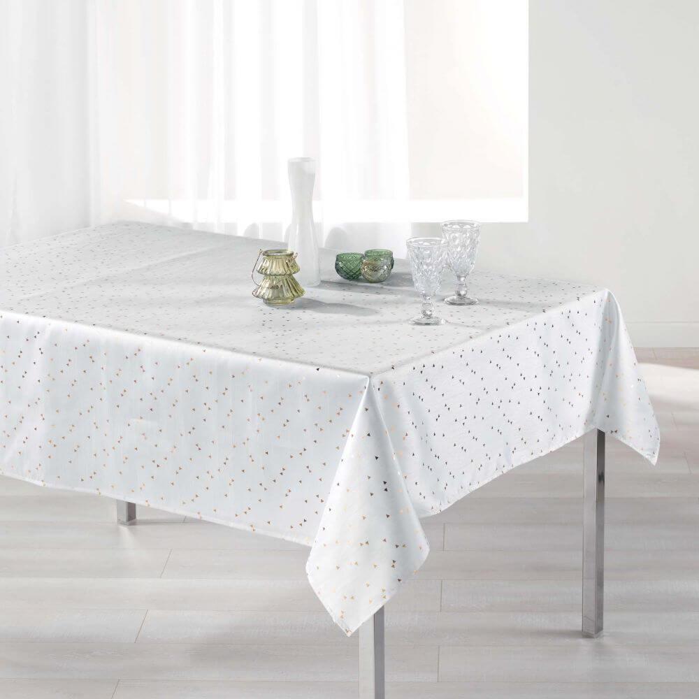 Nappe rectangle - 150 x 240 cm - Safina, reflets or / argent - Différents coloris : Couleur:Blanc