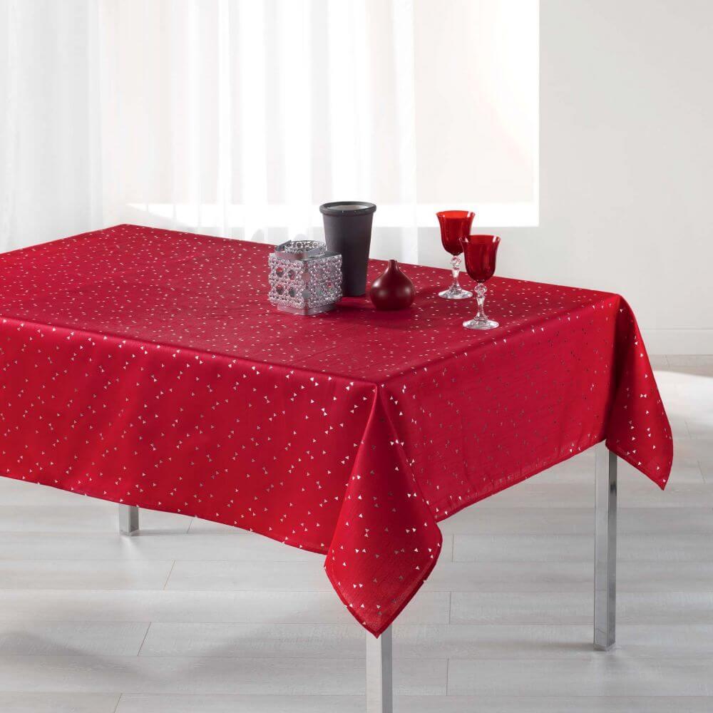 Nappe rectangle - 150 x 240 cm - Safina, reflets or / argent - Différents coloris : Couleur:Rouge