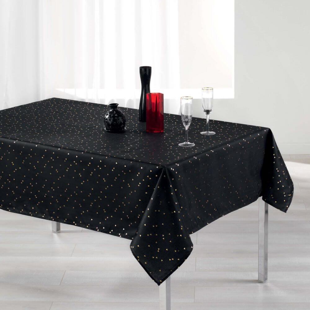 Nappe rectangle - 150 x 300 cm - Safina, reflets or / argent - Différents coloris : Couleur:Noir