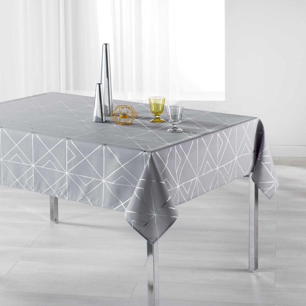 Nappe anti-tache - Rectangle - 150 x 300 cm - Quadris métallisée - Différents coloris : Couleur:Gris