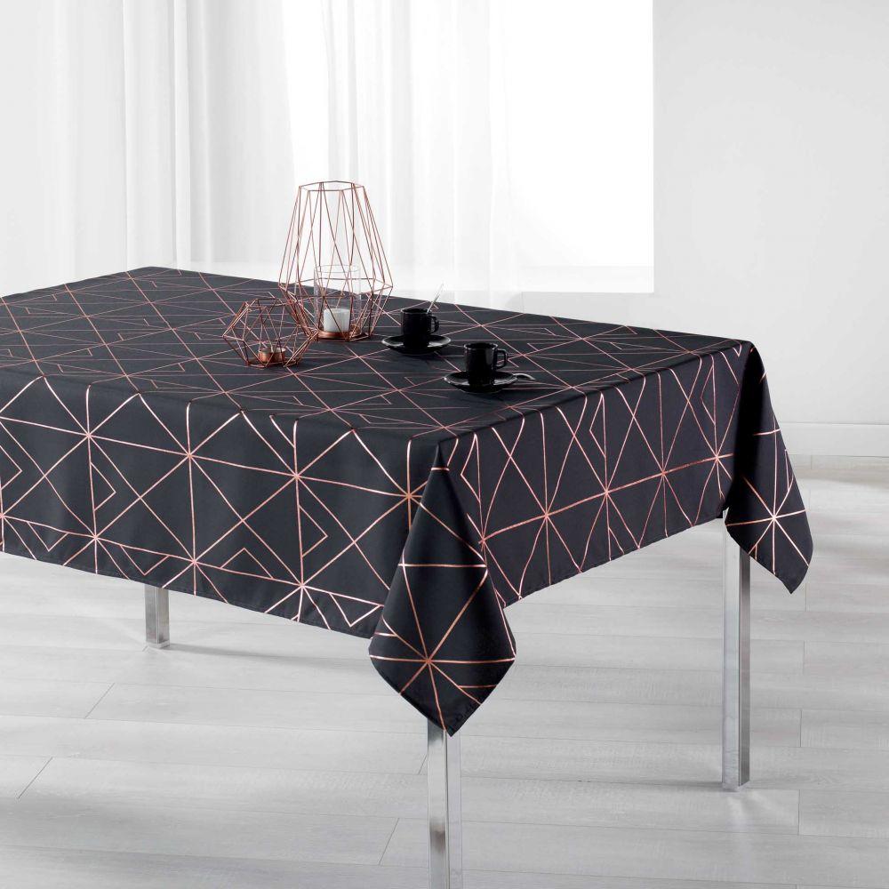 Nappe anti-tache - Rectangle - 150 x 240 cm - Quadris métallisée - Différents coloris : Couleur:Anthracite