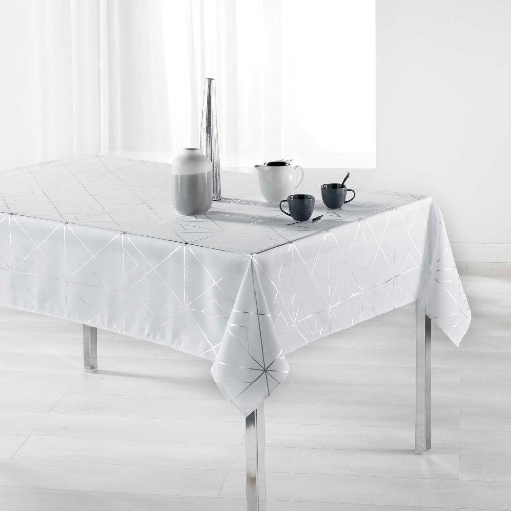 Nappe anti-tache - Rectangle - 150 x 240 cm - Quadris métallisée - Différents coloris : Couleur:Blanc