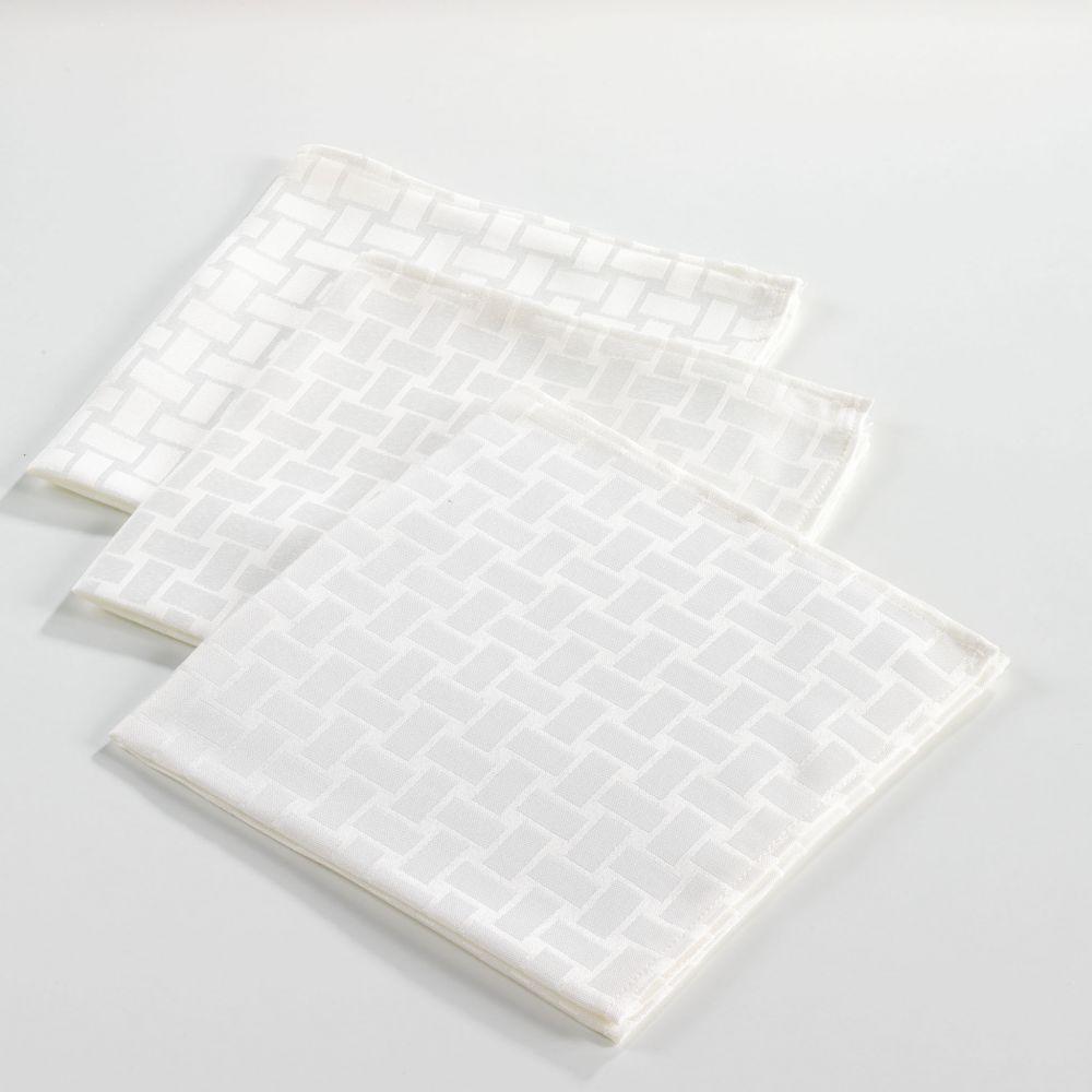 6 serviettes de table - 40 x40 cm - Jacquard - Maillon - Différents coloris : Couleur:Naturel