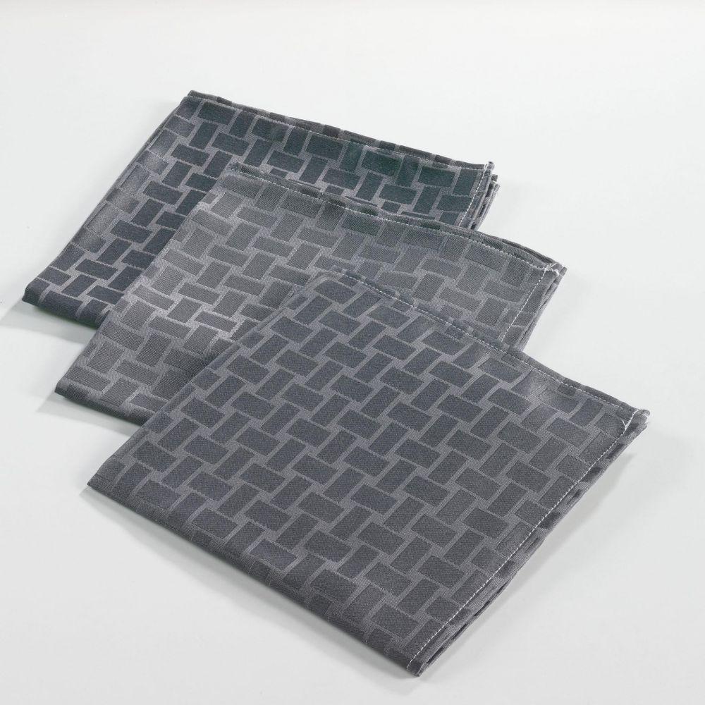 6 serviettes de table - 40 x40 cm - Jacquard - Maillon - Différents coloris : Couleur:Anthracite