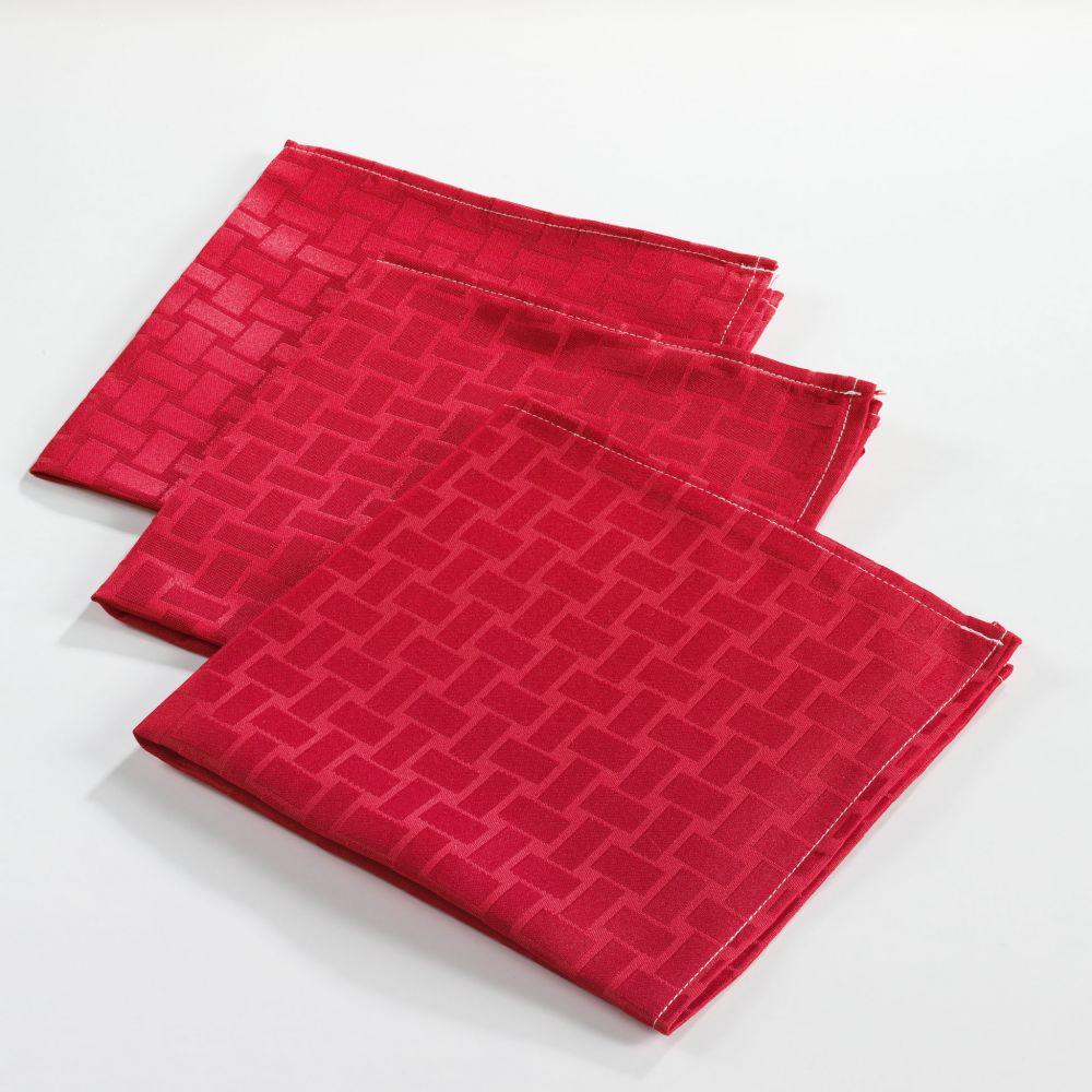 6 serviettes de table - 40 x40 cm - Jacquard - Maillon - Différents coloris : Couleur:Rouge