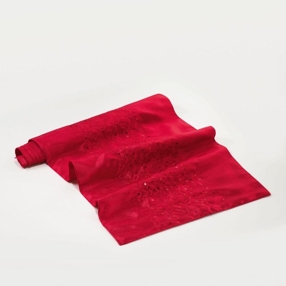 Chemin de table - 40 x 140 cm - Steely - Différents coloris : Couleur:Rouge