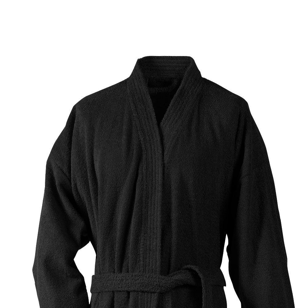 Peignoir adulte Taille XL - Kimono éponge : Couleur:Noir