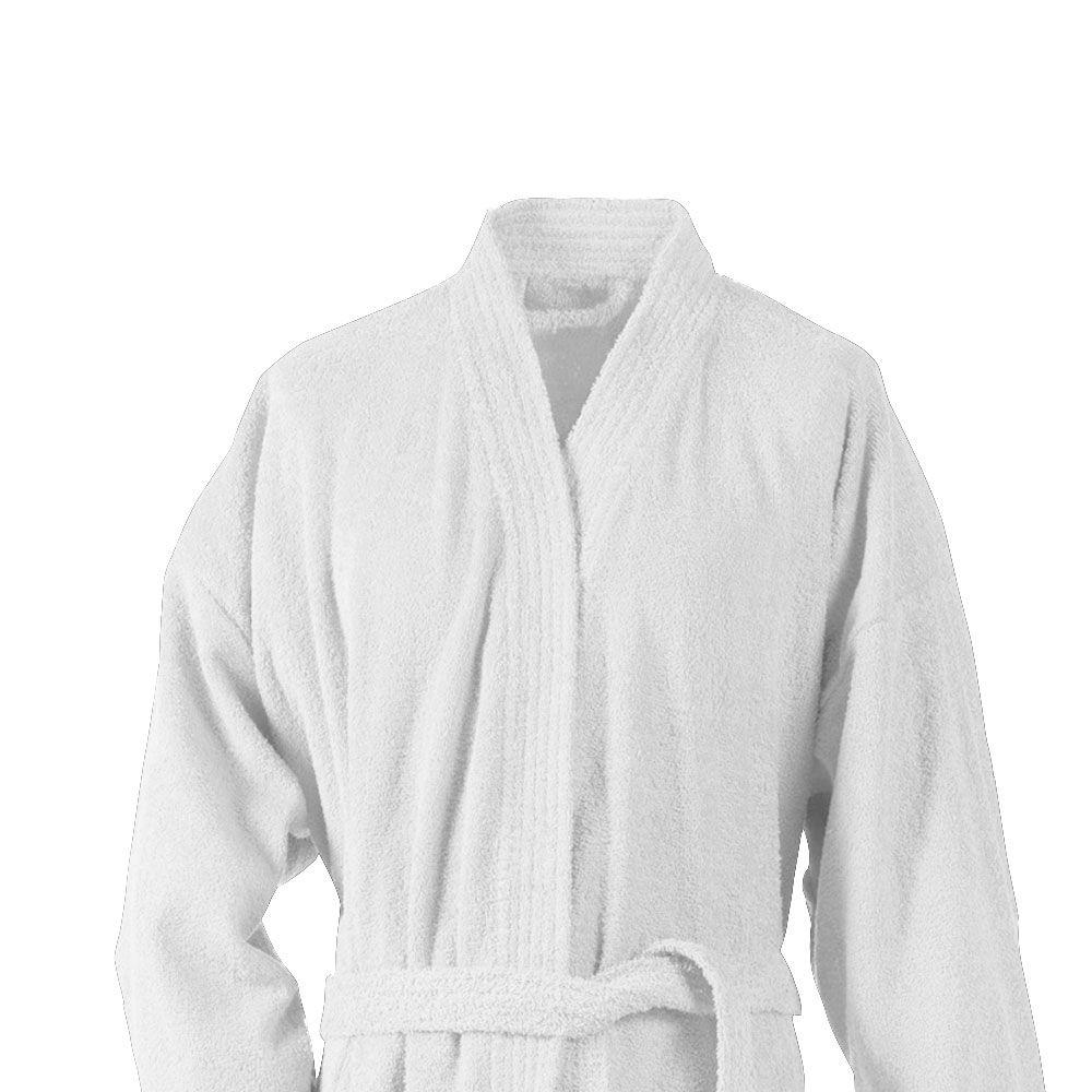 Peignoir adulte Taille L - Kimono éponge : Couleur:Blanc
