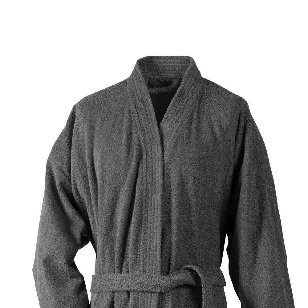 Peignoir adulte Taille L - Kimono éponge : Couleur:Gris