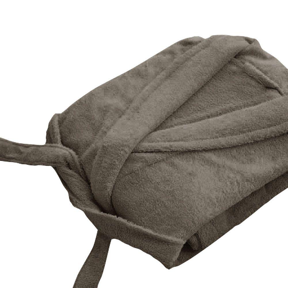 Peignoir adulte Taille S - Col chale éponge : Couleur:Taupe