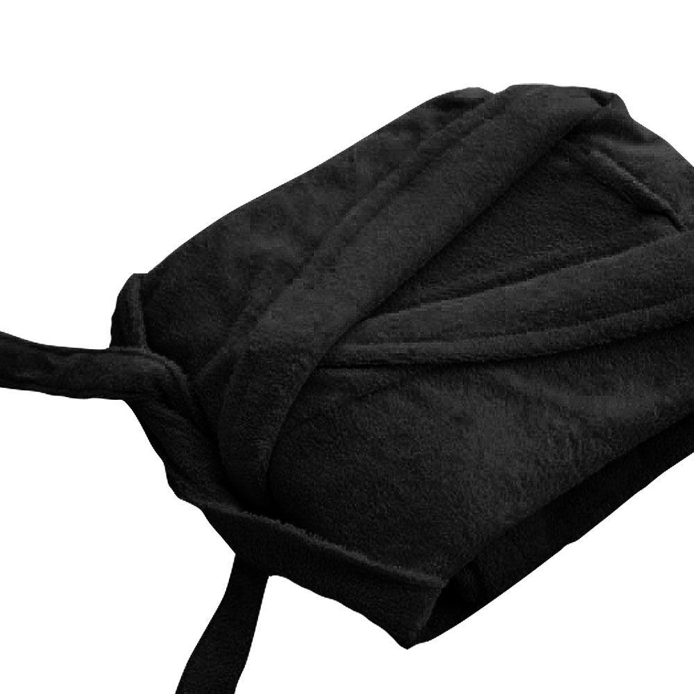 Peignoir adulte Taille L - Col chale éponge : Couleur:Noir