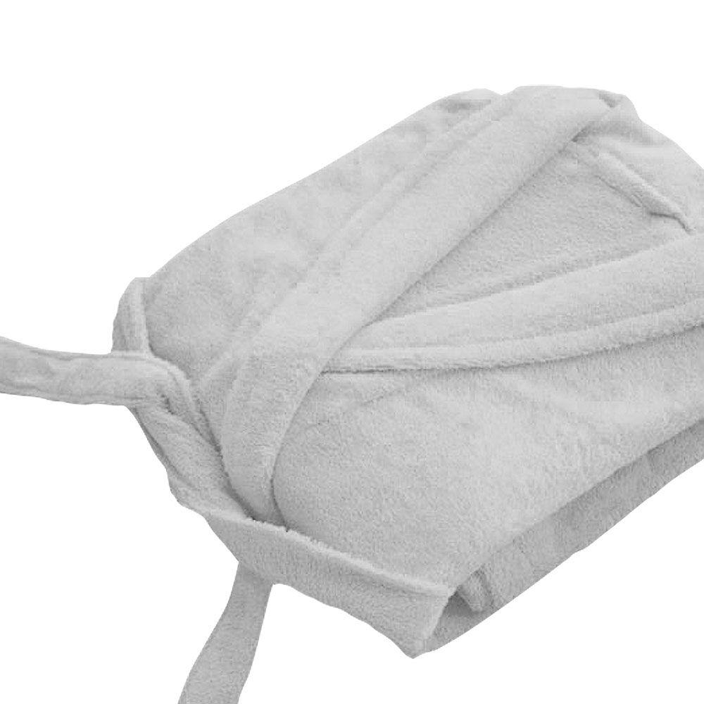 Peignoir adulte Taille L - Col chale éponge : Couleur:Blanc