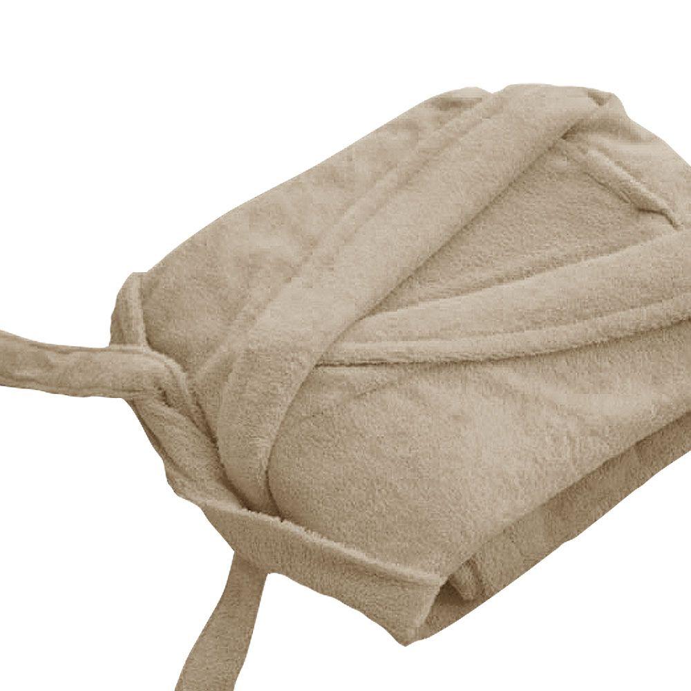 Peignoir adulte Taille L - Col chale éponge : Couleur:Crème