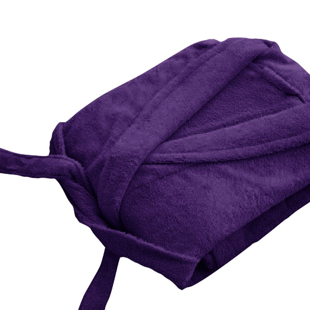 Peignoir adulte Taille L - Col chale éponge : Couleur:Violet