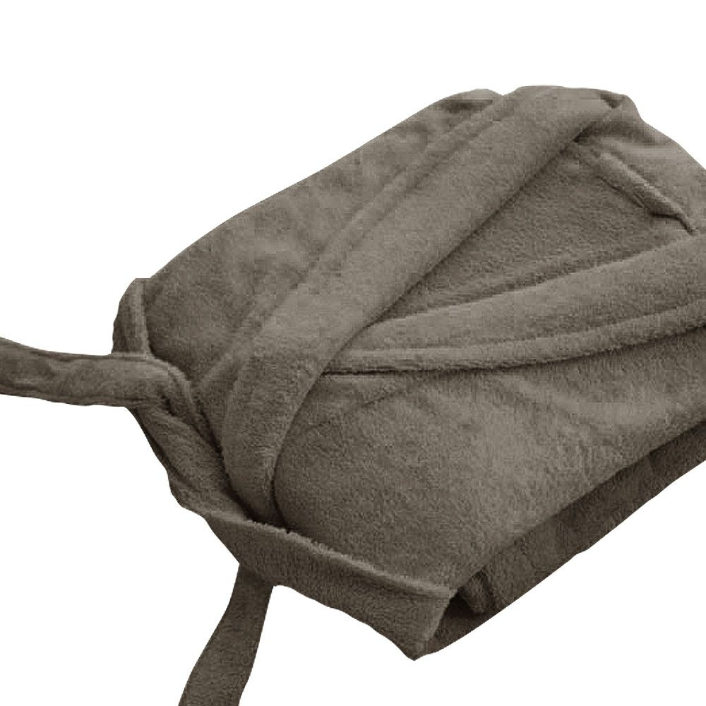 Peignoir adulte Taille XL - Col chale éponge : Couleur:Taupe