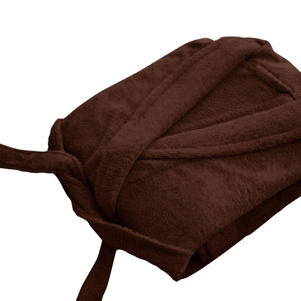 Peignoir adulte Taille XL - Col chale éponge : Couleur:Marron