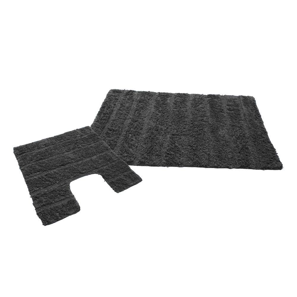 Ensemble tapis de bain - 50 x 80 cm et tapis contour WC - 50 x 50 cm : Couleur:Anthra