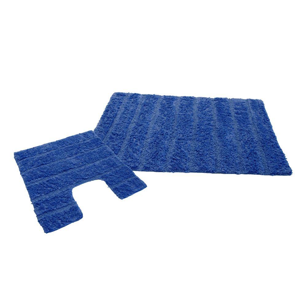 Ensemble tapis de bain - 50 x 80 cm et tapis contour WC - 50 x 50 cm : Couleur:Turquoise