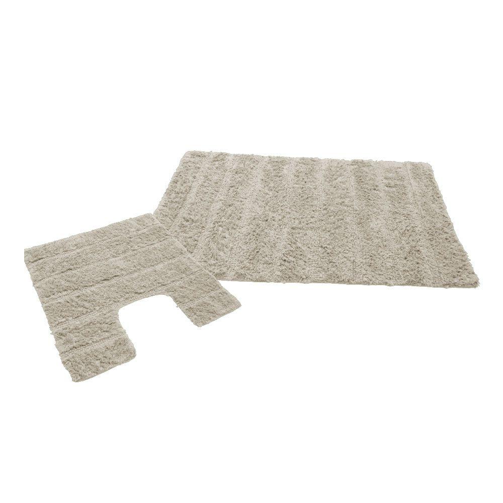 Ensemble tapis de bain - 50 x 80 cm et tapis contour WC - 50 x 50 cm : Couleur:Naturel