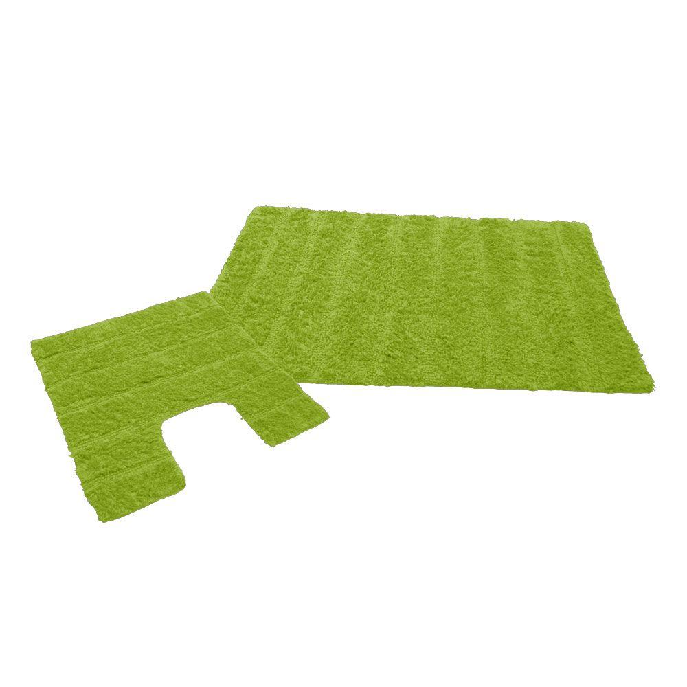 Ensemble tapis de bain - 50 x 80 cm et tapis contour WC - 50 x 50 cm : Couleur:Vert