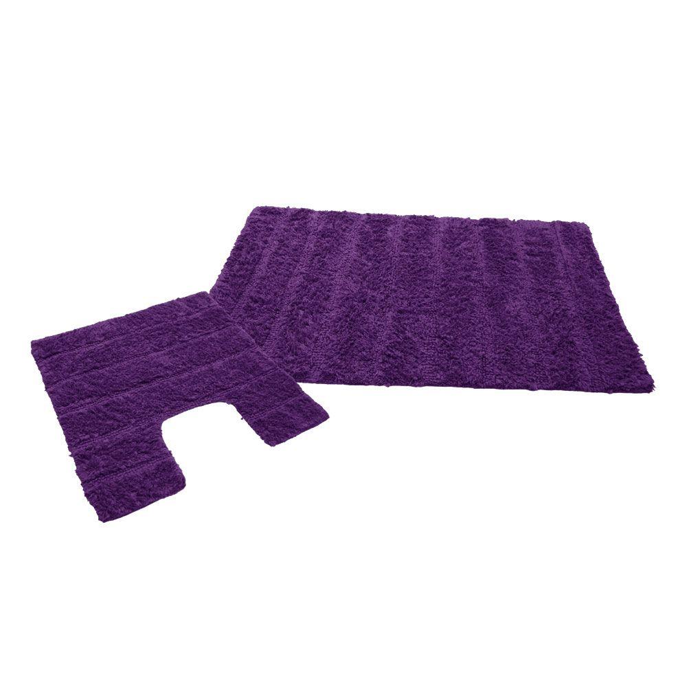 Ensemble tapis de bain - 50 x 80 cm et tapis contour WC - 50 x 50 cm : Couleur:Violet