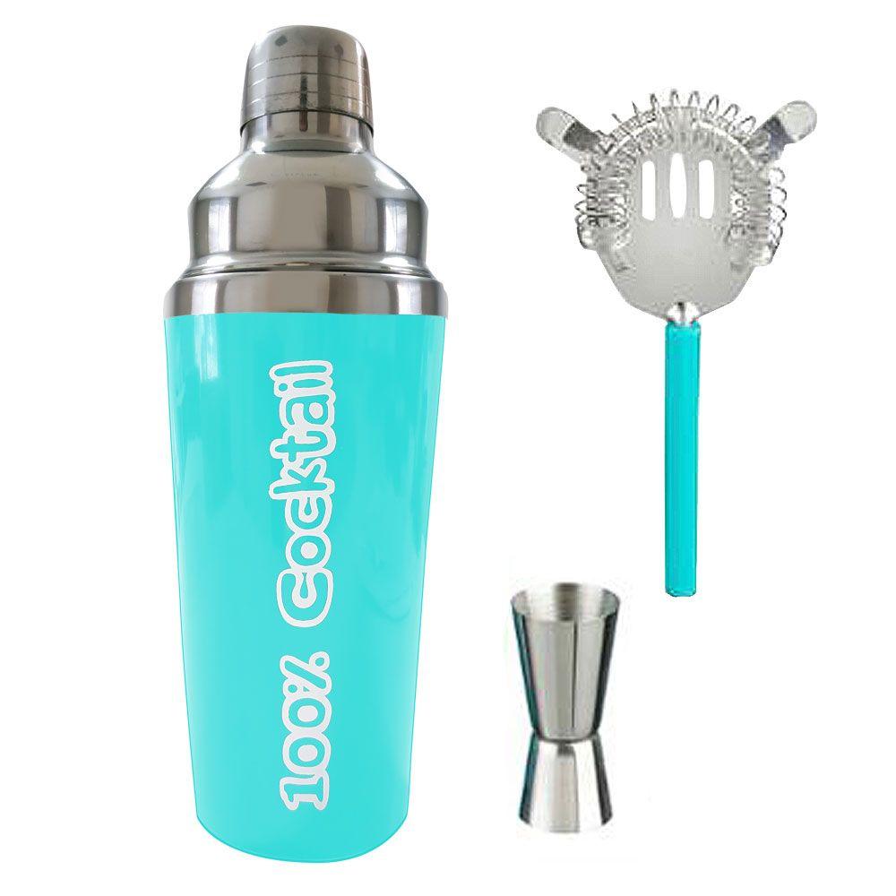 Coffret Cocktail - Shaker, accessoires et 4 recettes : Couleur:Bleu