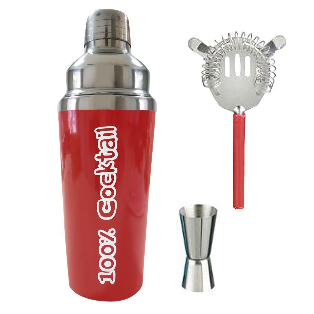 Coffret Cocktail - Shaker, accessoires et 4 recettes : Couleur:Rouge