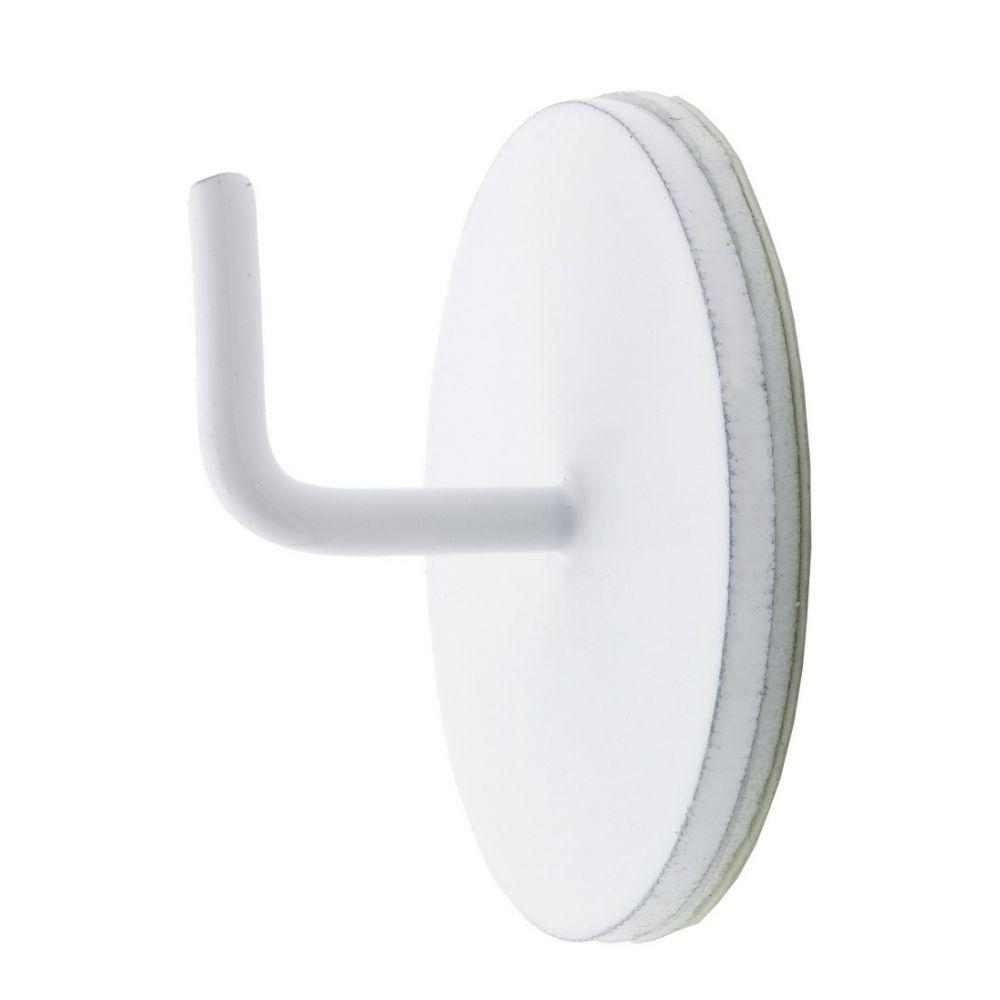 Lot de 2 supports rond adhésif tringle barre rideaux : Couleur:Blanc