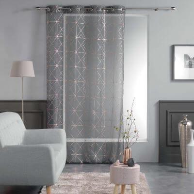 Panneau voile - Oeillets - 140 x 240 cm - Metallisé - Quadris - anthracite