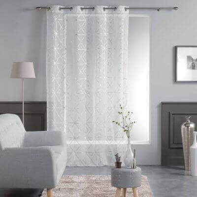 Panneau voile - Oeillets - 140 x 240 cm - Metallisé - Quadris - blanc