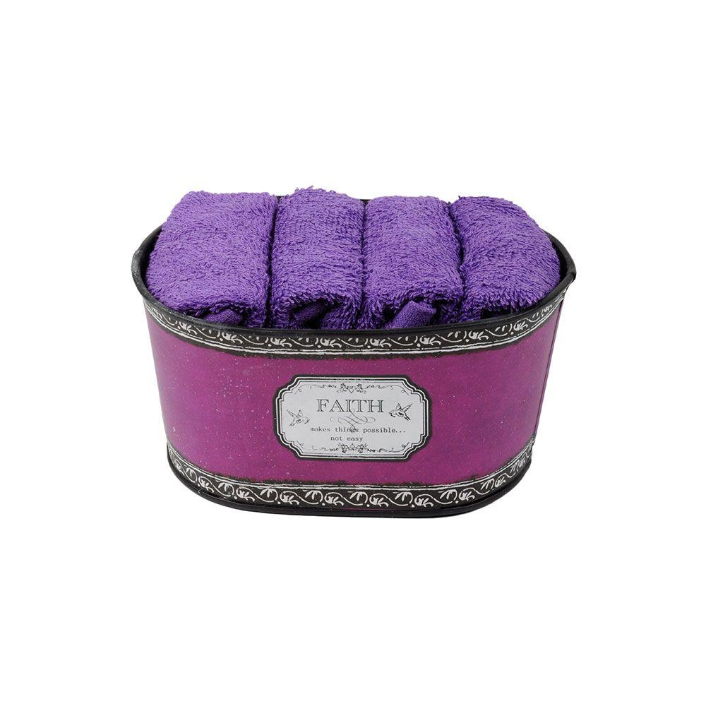 Coffret 4 serviettes - 30x30 - 100% coton - Faith : Couleur:Aubergine
