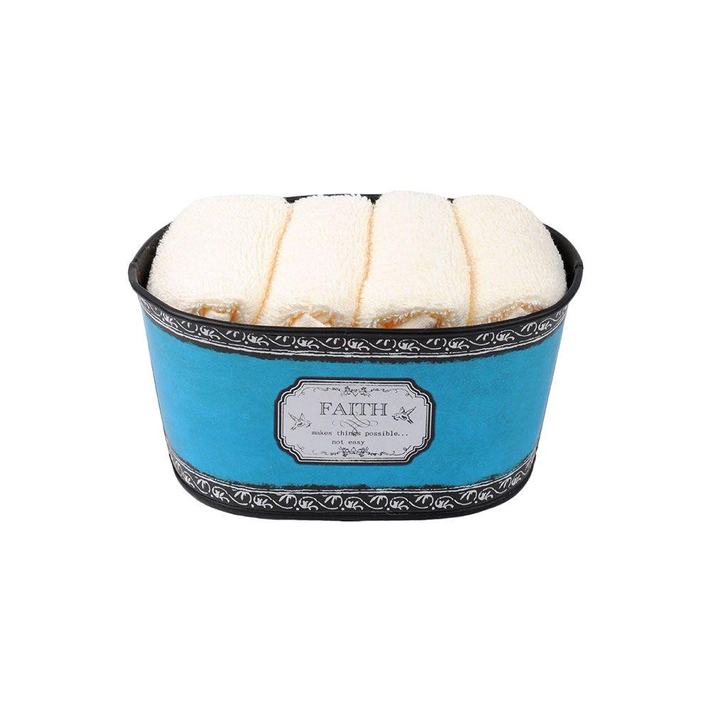 Coffret 4 serviettes - 30x30 - 100% coton - Faith : Couleur:Bleu