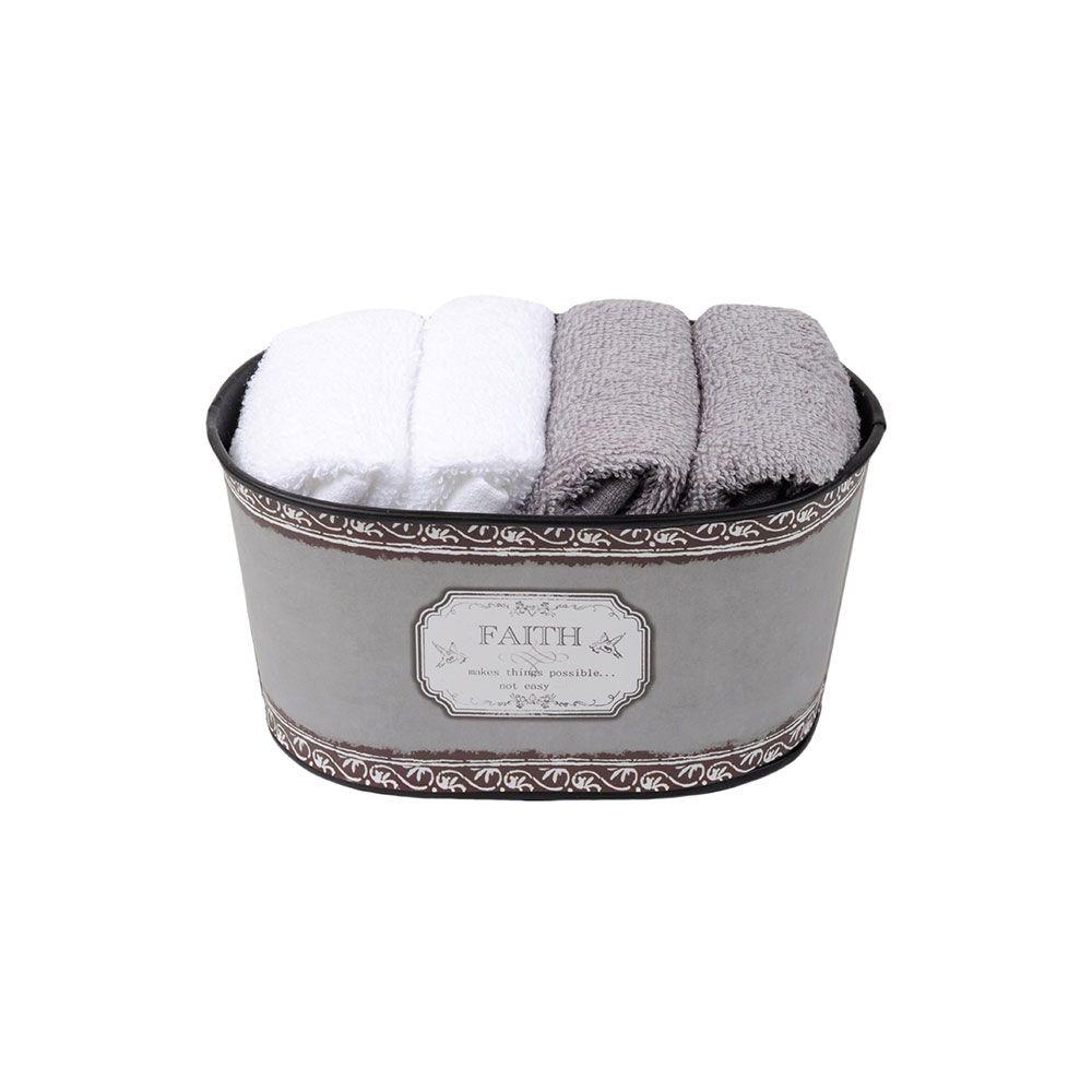 Coffret 4 serviettes - 30x30 - 100% coton - Faith : Couleur:Gris