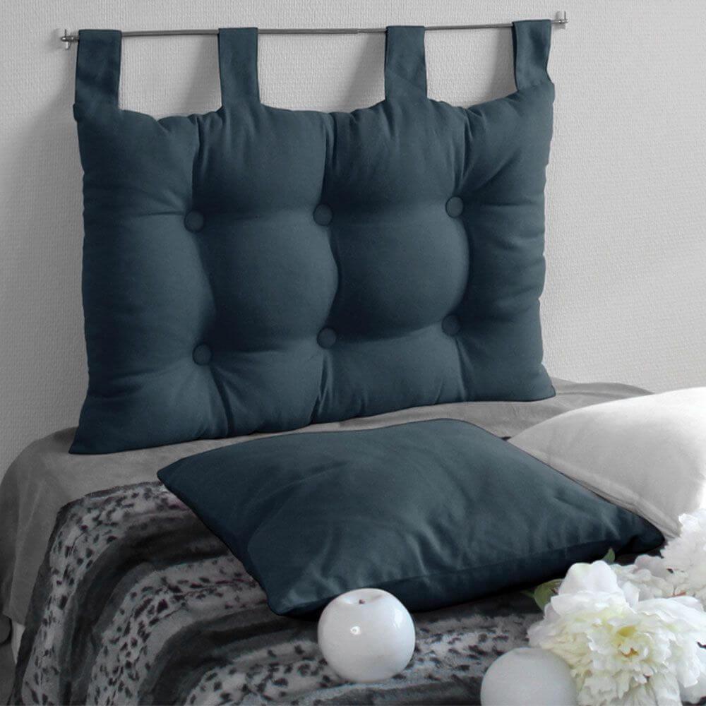 Tête de lit à pattes - 45 x 70 cm - Différents coloris : Couleur:Bleu jeans