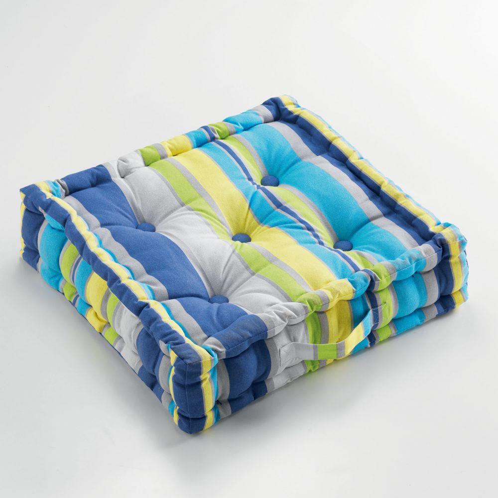 Coussin de sol garni - 45 x 45 cm x 10 cm - Marina - Différents coloris : Couleur:Bleu