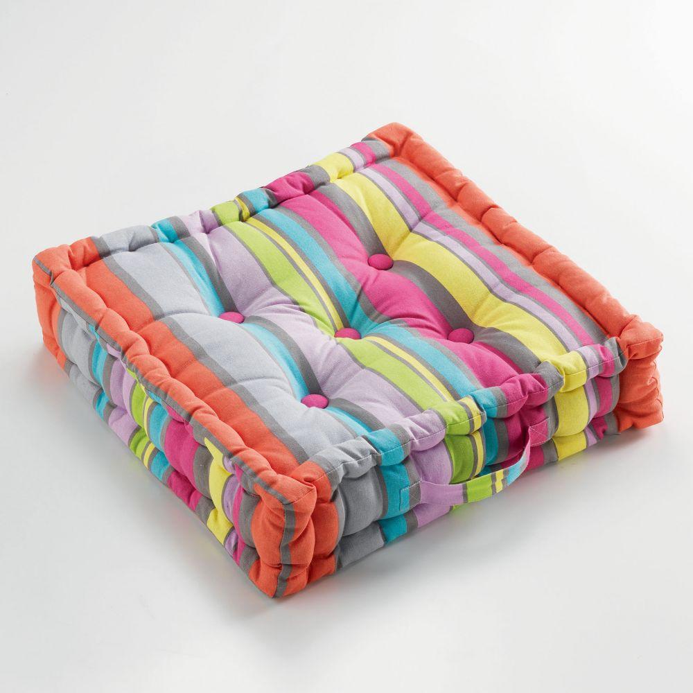 Coussin de sol garni - 45 x 45 cm x 10 cm - Marina - Différents coloris : Couleur:Multicolore