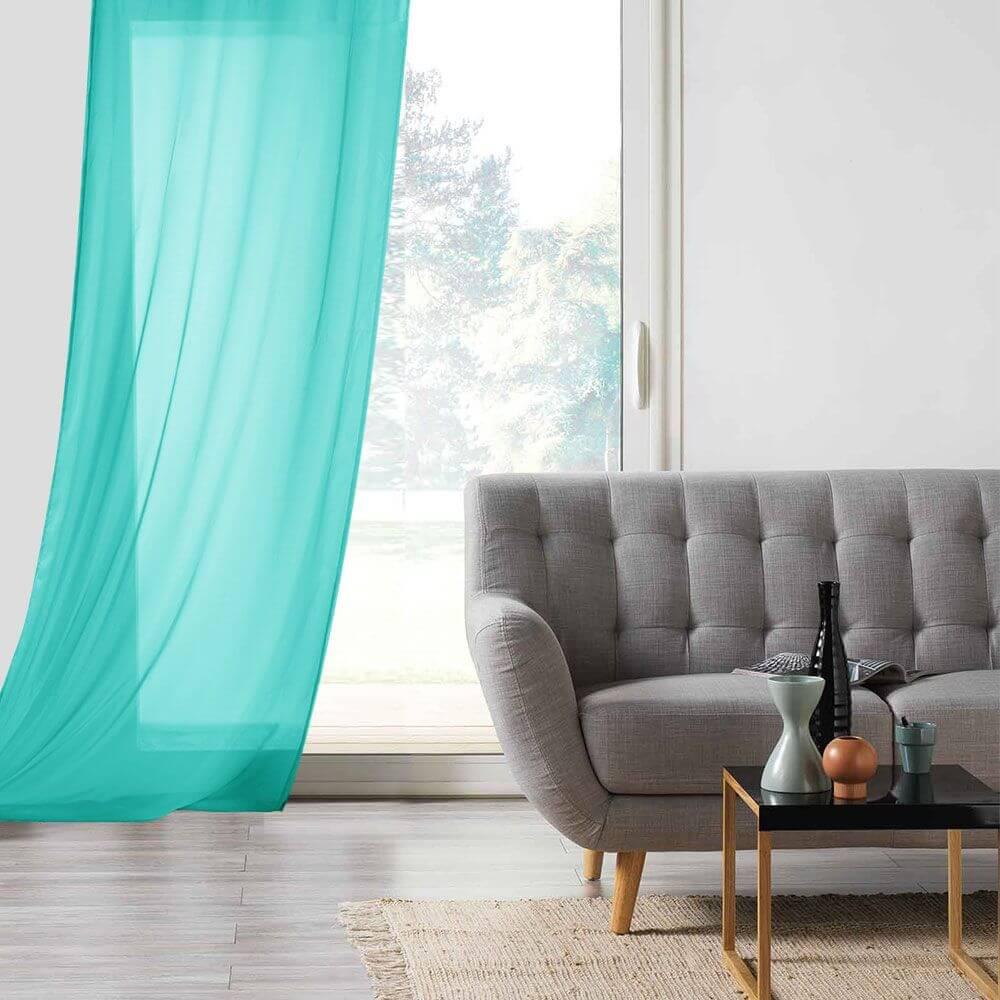 Panneau voile - Oeillets - 135 x 260 cm - Lisa - Différents coloris : Couleur:Turquoise